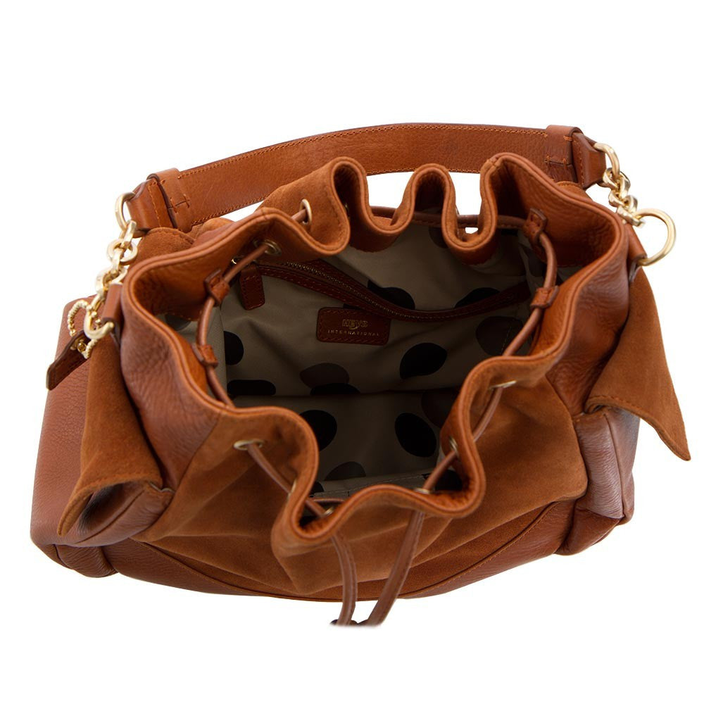 Soho Suede/Leather Large Drawstring Bag - Tan