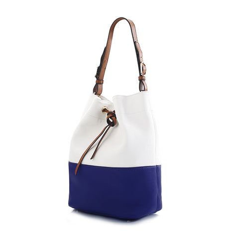 Island Paradise Colour Block Drawstring Tote - Navy/White