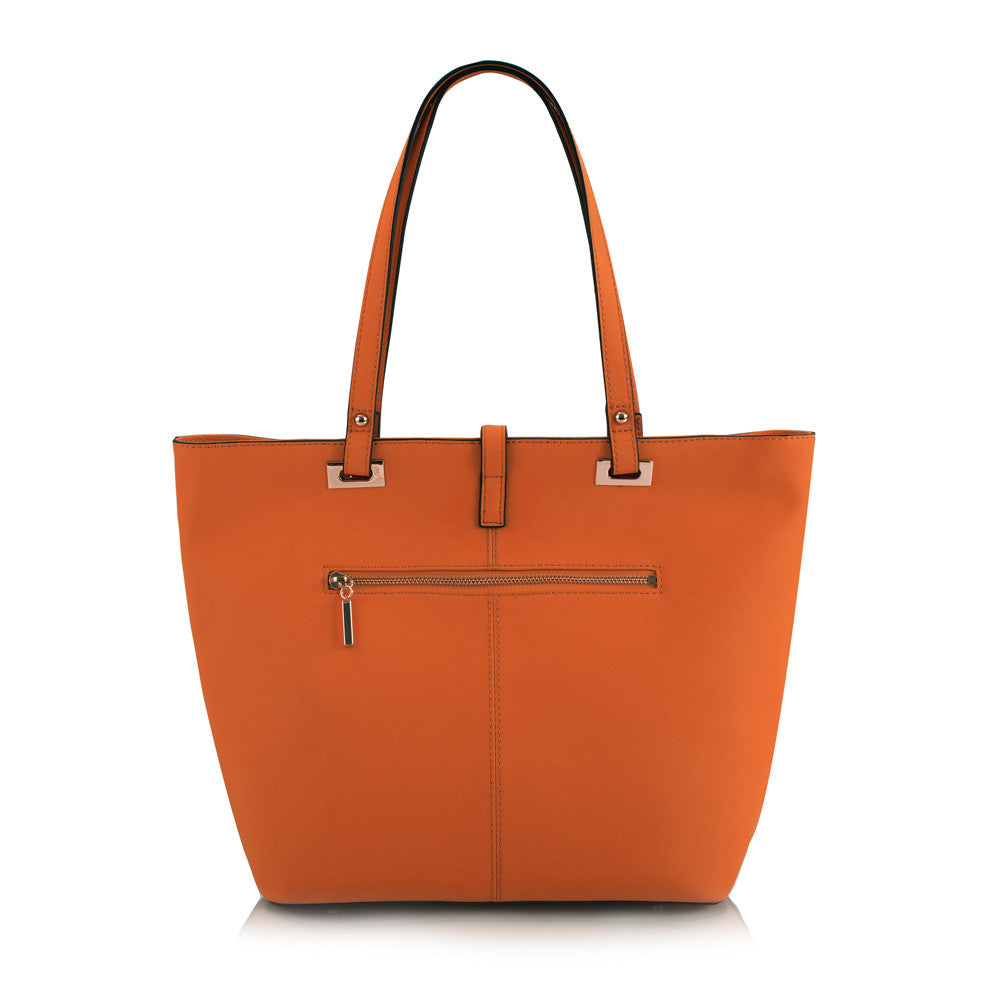 Maui Bay East/West Tote w. Tab/Zip Top Closure - Tangerine