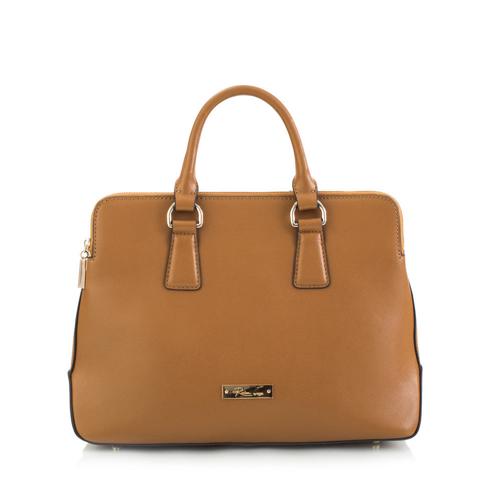 Maui Bay Satchel with Double Zip Compartments - Camel