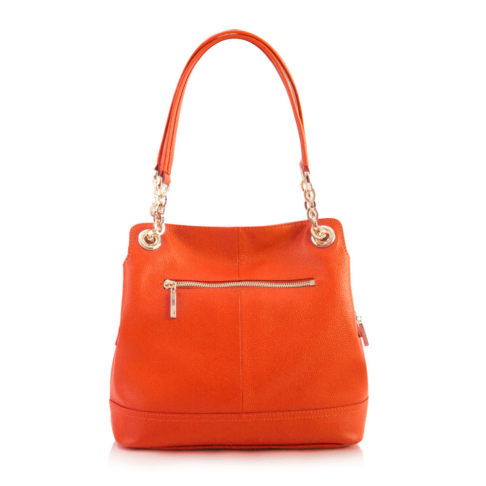Maui Bay Shoulder Bag w. Partial Chain Handle - Tangerine