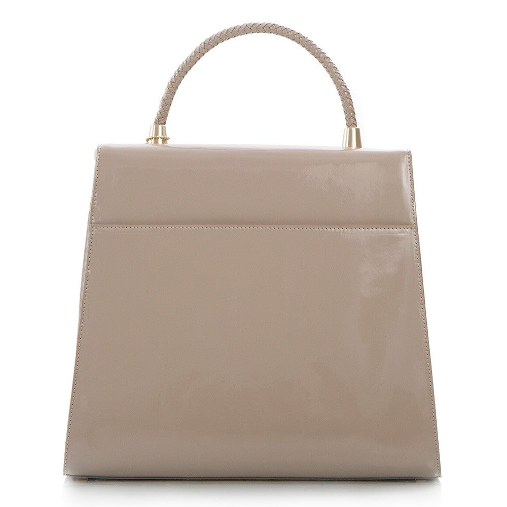 Yorkville Patent Large Arm Bag - Taupe