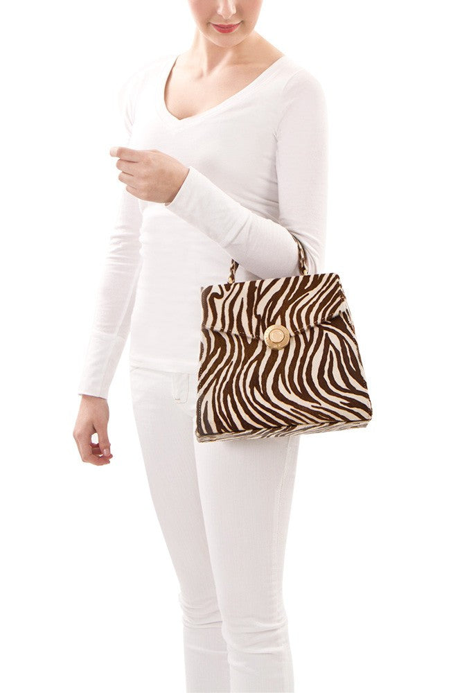 Yorkville Zebra Small Arm Bag - White/Brown Zebra