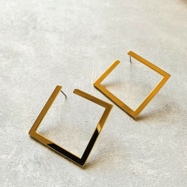 Open Diamond Stud - Gold