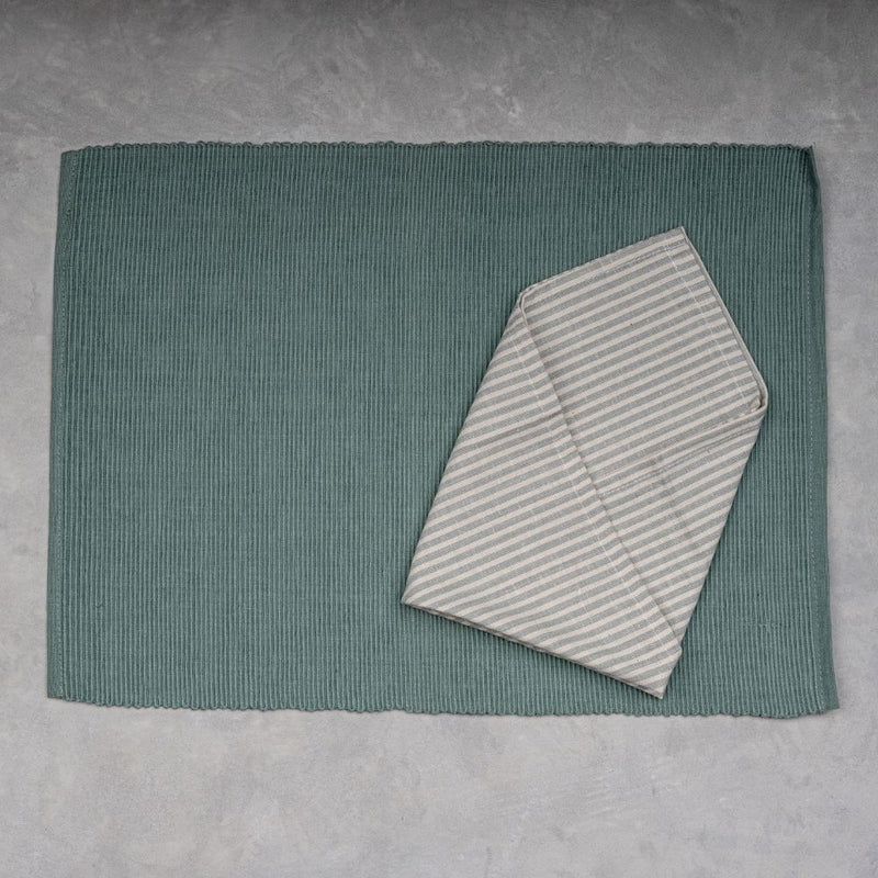 Thin Striped Placemats - Set of 6 Table mats and 6 Napkins