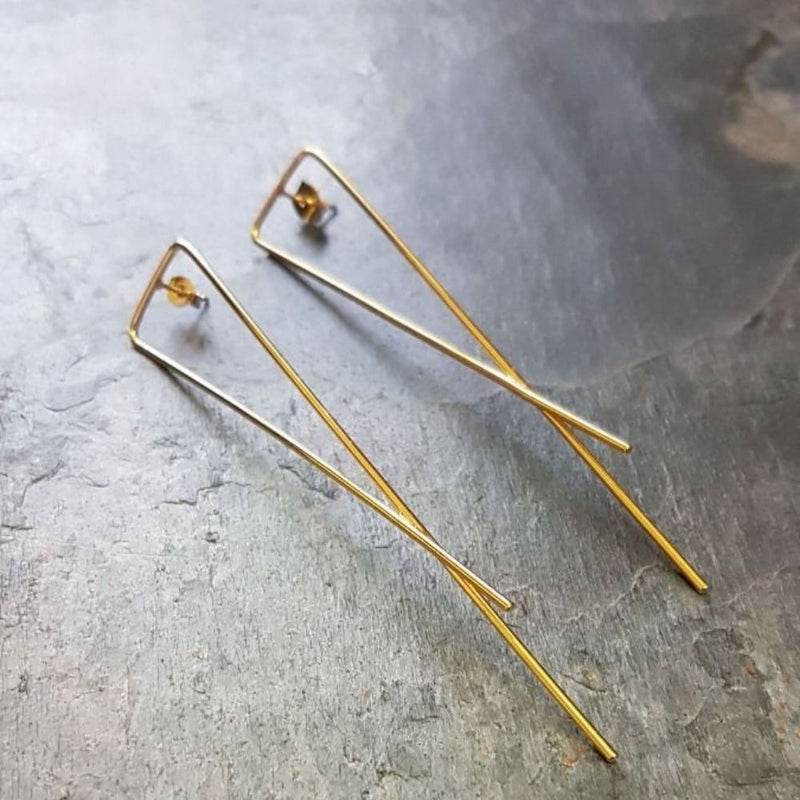 Long Lines Crossed Stud Earrings-Gold