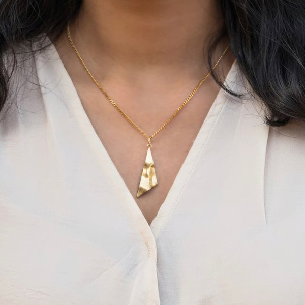 Asymmetrical Brass pendant and Gold plated chain