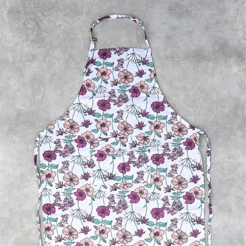 Peach And Pink Floral Mixed Apron