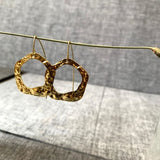 Shiny Circle Hammered Earring With A Long Hook