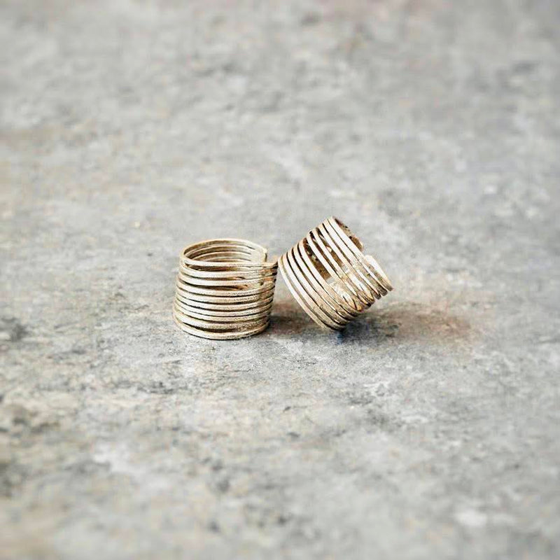 Stacked Spiral Finger Rings- Silver
