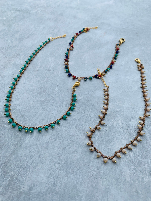 Multicolor RONDELLE BEADS BRASS ANKLET