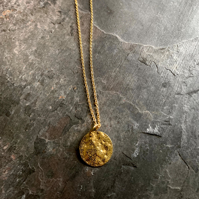 Hammered shiny  Circle Brass pendant and Gold plated chain