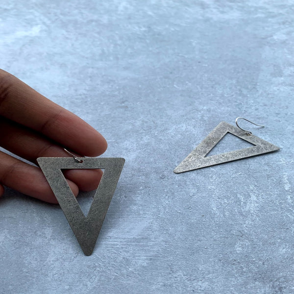 Large Triangle earring - Antique Silver tone