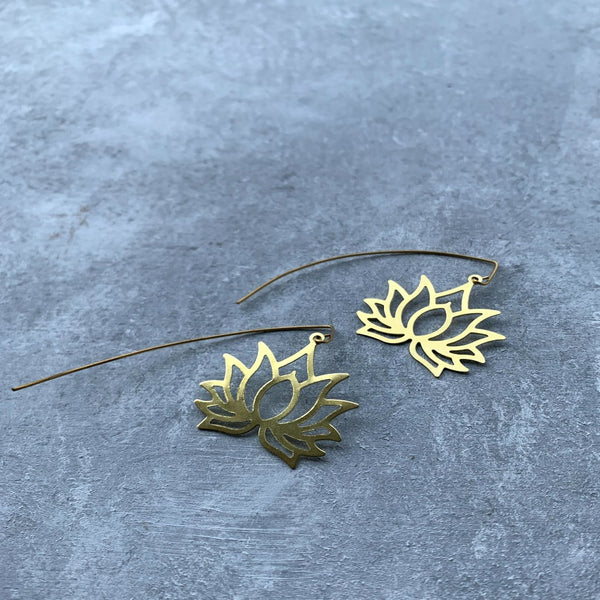 Gold Tone Brass lotus with Long back