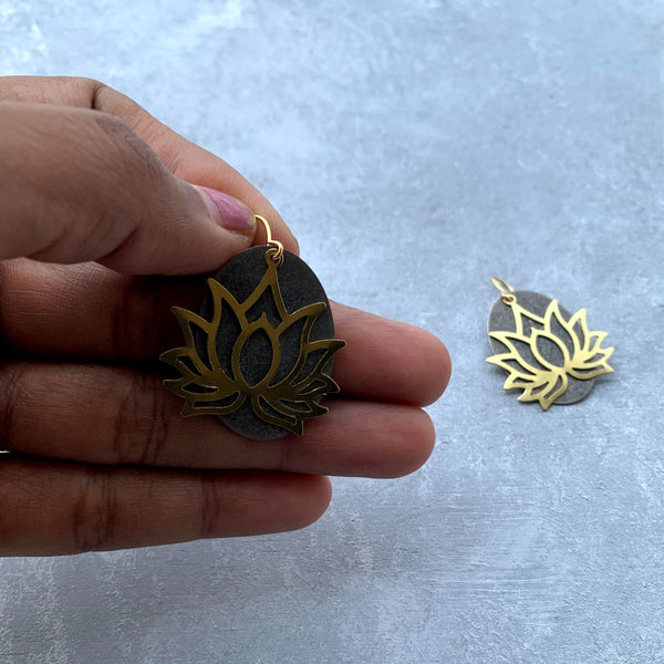 Antique Silver tone Oval and Brass Lotus