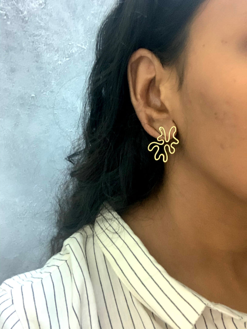 Abstract Earring- Brass