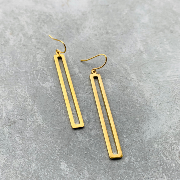 Hollow bar  Long Earring - Brass