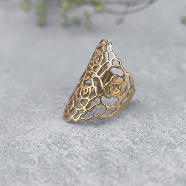 Rose Floral Cut Out Finger Rings - Gold/Brass tone
