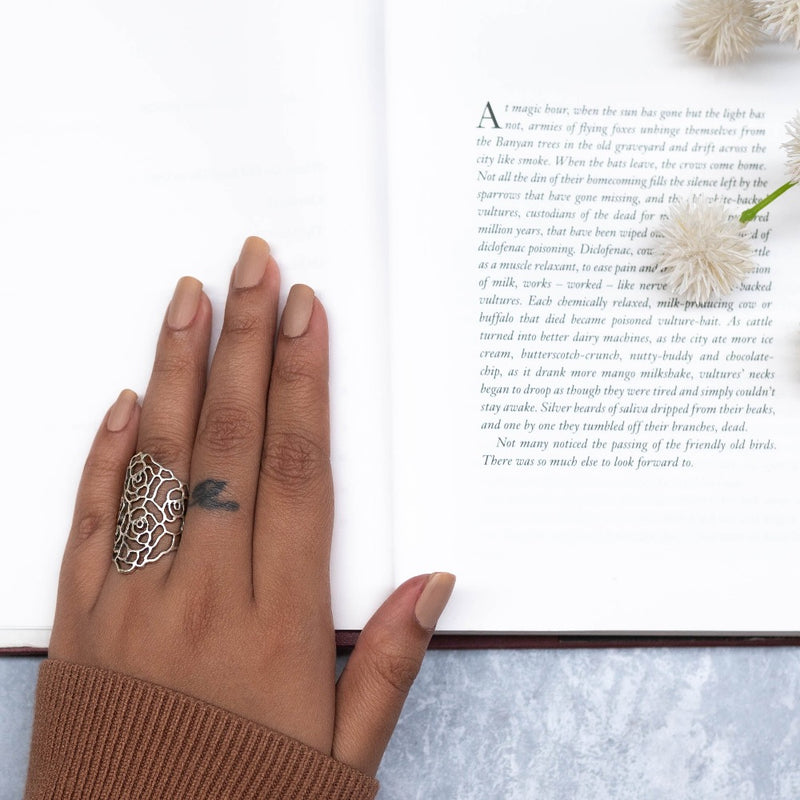 Rose Floral Cut Out Finger Rings
