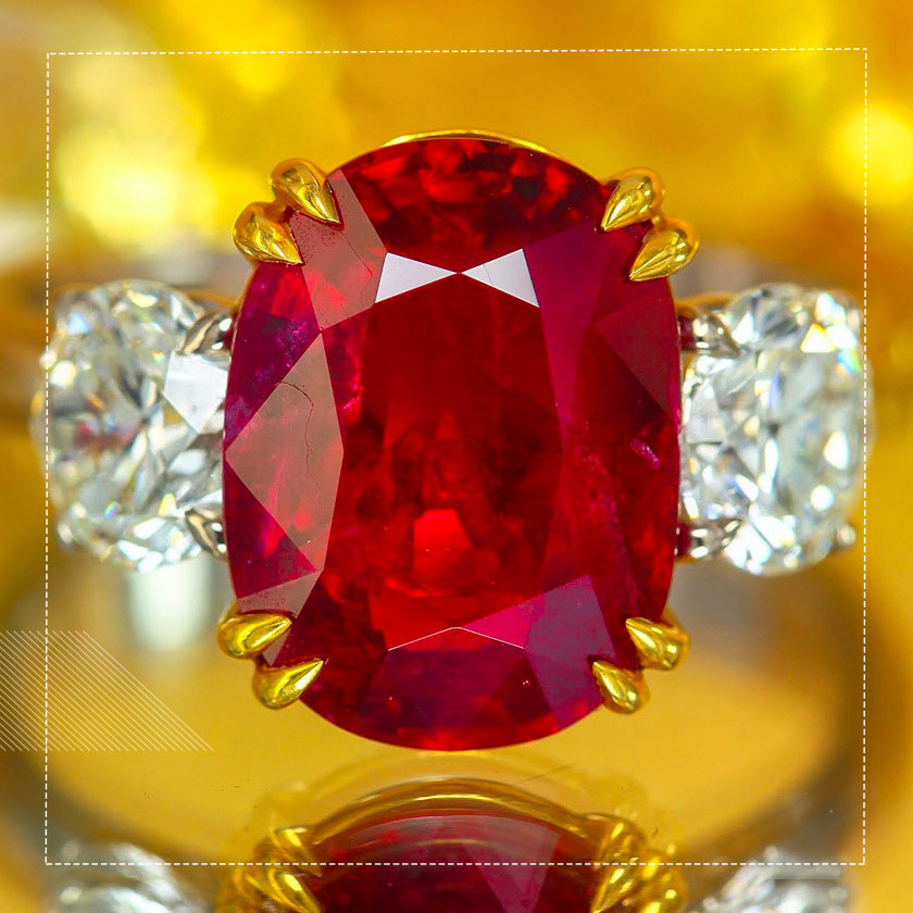 Burmese Ruby of red color