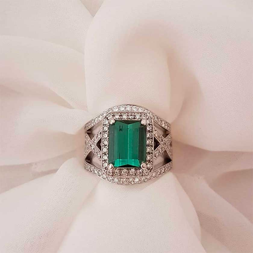 green tourmaline anniversary ring