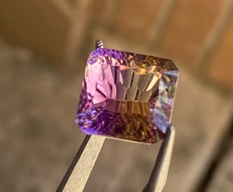 100% Natural Ametrine Untreated Yellow & Purple 10.36ct 13x12.5mm IF - Flawless Octagon Concave