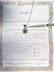 100% Natural Tsavorite Garnet, 2.3 CT Forest Green Color Gemstone & Diamond Pendant, VS1-VVS clean, 14K. Comes with Certified Appraisal