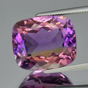 100% Natural Bolivian Ametrine, 10.47 CT, IF Flawless Clean! 14.6x12.2mm Cushion Cut, Yellow & Purple. Reserved for Valerie till Dec 16