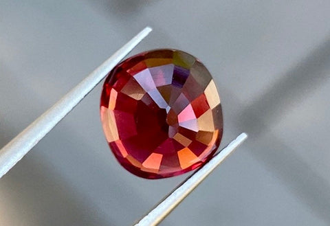 100% Natural Rhodolite Garnet, 3.38 CT, VVS +, 8.3x7.7mm, Cushion Cut, Natural Orangish Pink, Top Color, Excellent Clarity & Perfect Cut