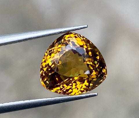 2.87 Ct Rare Mali Garnet, Greenish Yellow Color, VS, 8.3x8mm, Trillion Cut, Superior Color, Cut & Clarity