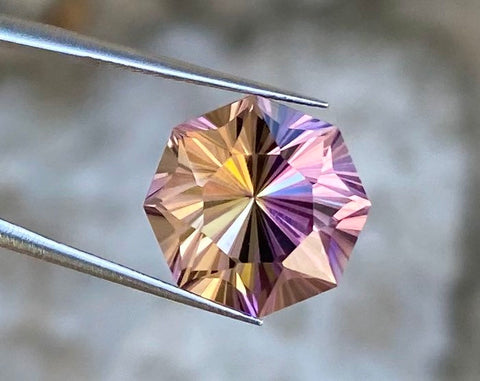 100% Natural Ametrine,  9.75Cts, Flawless Cut & Clarity, Round - Custom Cut, Perfect Split Strong Purple Yellow Color Gemstone.