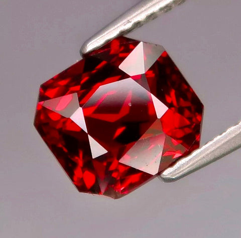 3.60 CT, Natural Rhodolite Garnet, Cherry Red Color, Emerald Cut, VVS, Clean Bright Color Gemstone.