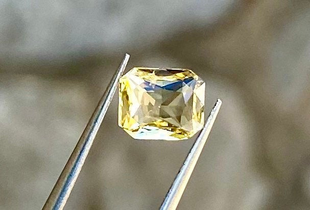 Certified Ceylon Sapphire, 1.12 CT, Unheated Untreated VVS Eye Clean Yellow Color, Octagon Cut Gemstone