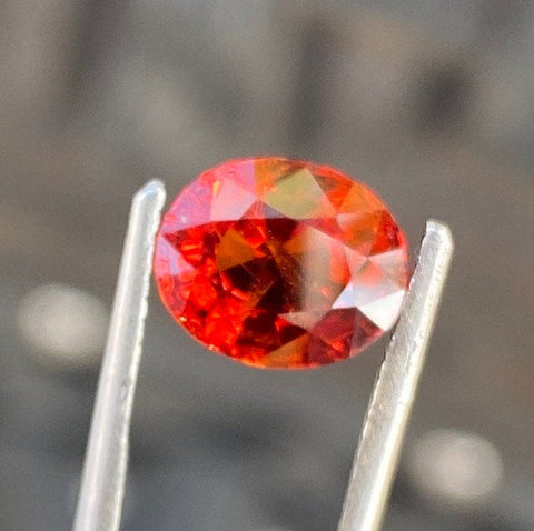 3.19 CT Spessartite Garnet, Orangish Red Color , VVS Eye Clean, Perfect Oval Cut Gemstone.
