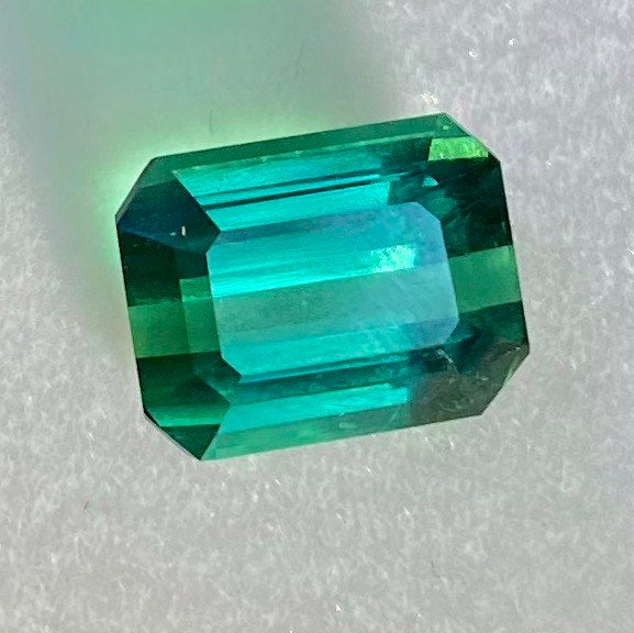 Best Color! 2.85 CT Tourmaline, IF Flawless Loupe Clean, Bluish Green Color (most valued), Emerald Cut, Superior Luster Super Nice Gemstone.