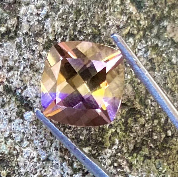 3.6 Ct Bolivian Ametrine, Certified, VVS Clean, Cushion Cut Gemstone