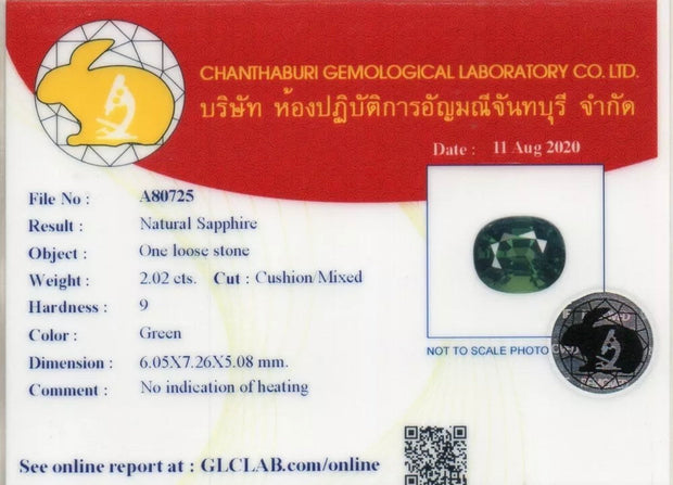 2.02 CT Certified Sapphire, Dark Green Color, Unheated/ Untreated, VS Clean, Cushion Cut Gemstone.
