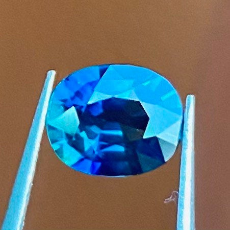 1.46 CT Sapphire, IF Flawless Super Clean, Heated Only, Bluish Green, Oval Cut Gemstone.
