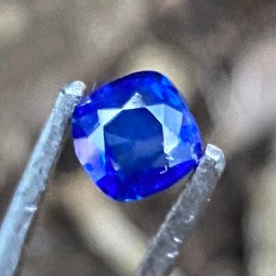 Certified Sapphire, Brilliant Cornflower Blue Color, .77 Ct, Certified Unheated, VVS Eye Clean, Cushion Square Sapphire
