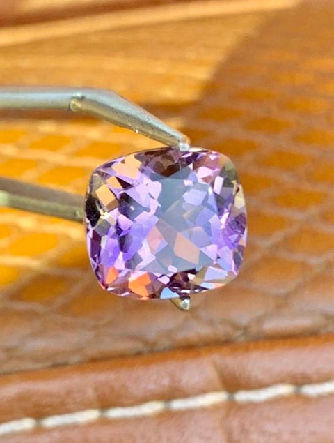 Certified Ametrine VVS Clarity! 5.54 CT 11x10.2mm Cushion Natural Untreated Yellow & Purple