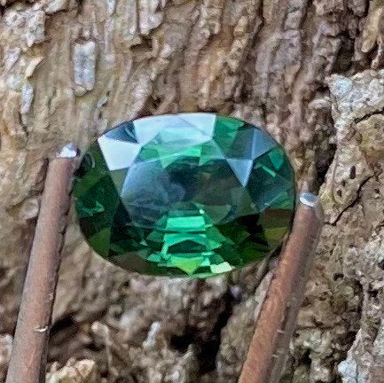 1.37 CT, Sapphire, VVS Clean, Forest Green Color, Heated Only, Gorgeous Oval Shape Gemstone