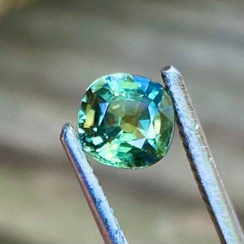 1.06 Ct Green Sapphire, Certified Unheated / Untreated, VVS Clarity, Cushion Cut Gemstone