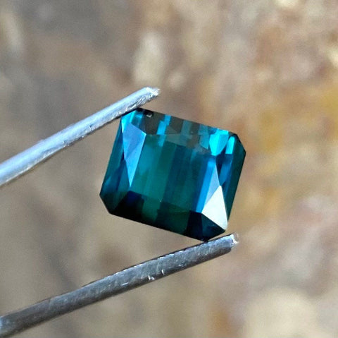3.22 CT, Indicolite Tourmaline, VVS clean, Octagon Cut and Certified by GLC as Indicolite Tourmaline
