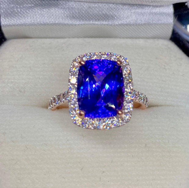 5 TCW GIA Certified Tanzanite 14K Rose Gold Diamond Ring, Flawless Clarity, Vivid Bluish Violet Color, Cushion Cut, Perfect Engagement Ring.