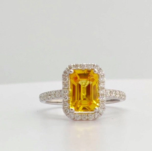 2.76 TCW GRA Certified Sapphire Ring, Orangey Yellow Color, Flawless Clarity, Octagon Step Cut Shape on a 18K White Gold Diamond Ring.