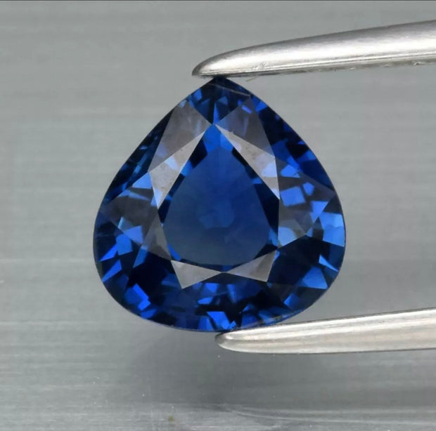 1.17 Carat Ceylon Sapphire, heated only, VVS Clean, Pear Shape Gemstone. Excellent gemstone for an engagement ring.