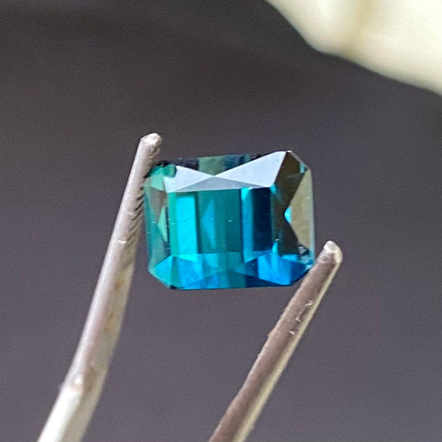3.37 CT, Indicolite Tourmaline, VVS Clarity, Octagon Cut and Certified Indicolite by GLC.
