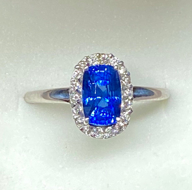 2.2 TCW Cornflower Blue Sapphire Diamond Ring, VVS Clean, Certified Lightly Heated, Cushion Shape Gemstone,