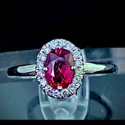 1.52 TCW Sapphire Diamond Ring, Clean Orangey Pink Color Stones on a 14K White Gold.