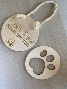 Easter Bunny Sign and Paw Print Stencil Set